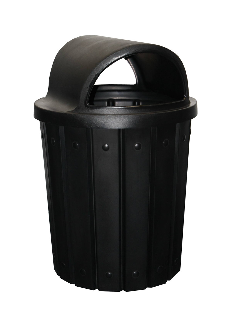 Kolor Can Signature 42 Gallon Heavy Duty Trash Receptacle with 2 Way Open Lid BLACK