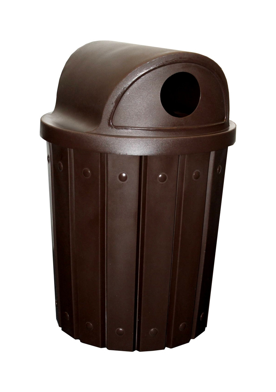 Kolor Can Signature 42 Gallon Heavy Duty Trash Receptacle with 2 Way Recycle Lid BROWN