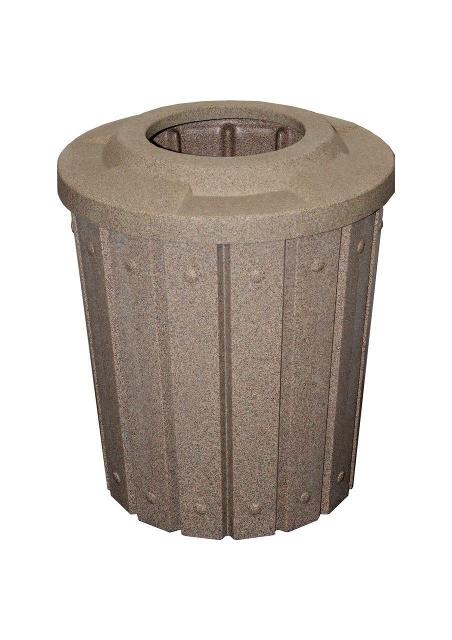 Kolor Can Signature 42 Gallon Heavy Duty Trash Receptacle with 10 Inch Waste Lid BEIGE GRANITE