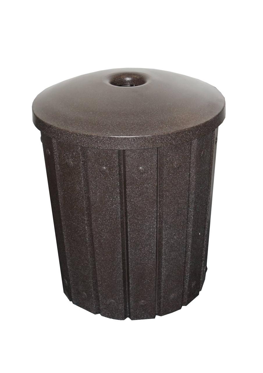 Kolor Can Signature 42 Gallon Heavy Duty Trash Receptacle with Mushroom Lid BROWN GRANITE