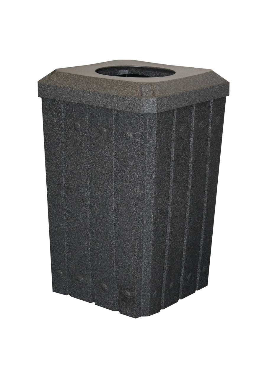 Kolor Can Signature 32 Gallon Heavy Duty Trash Receptacle with 10 Inch Waste Lid DARK GRANITE
