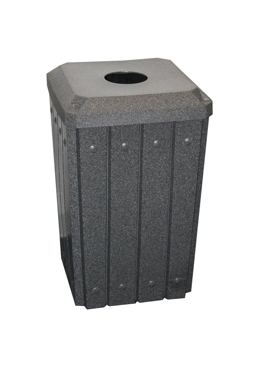 Kolor Can Signature 32 Gallon Heavy Duty Trash Receptacle with 4 Inch Recycle Lid DARK GRANITE