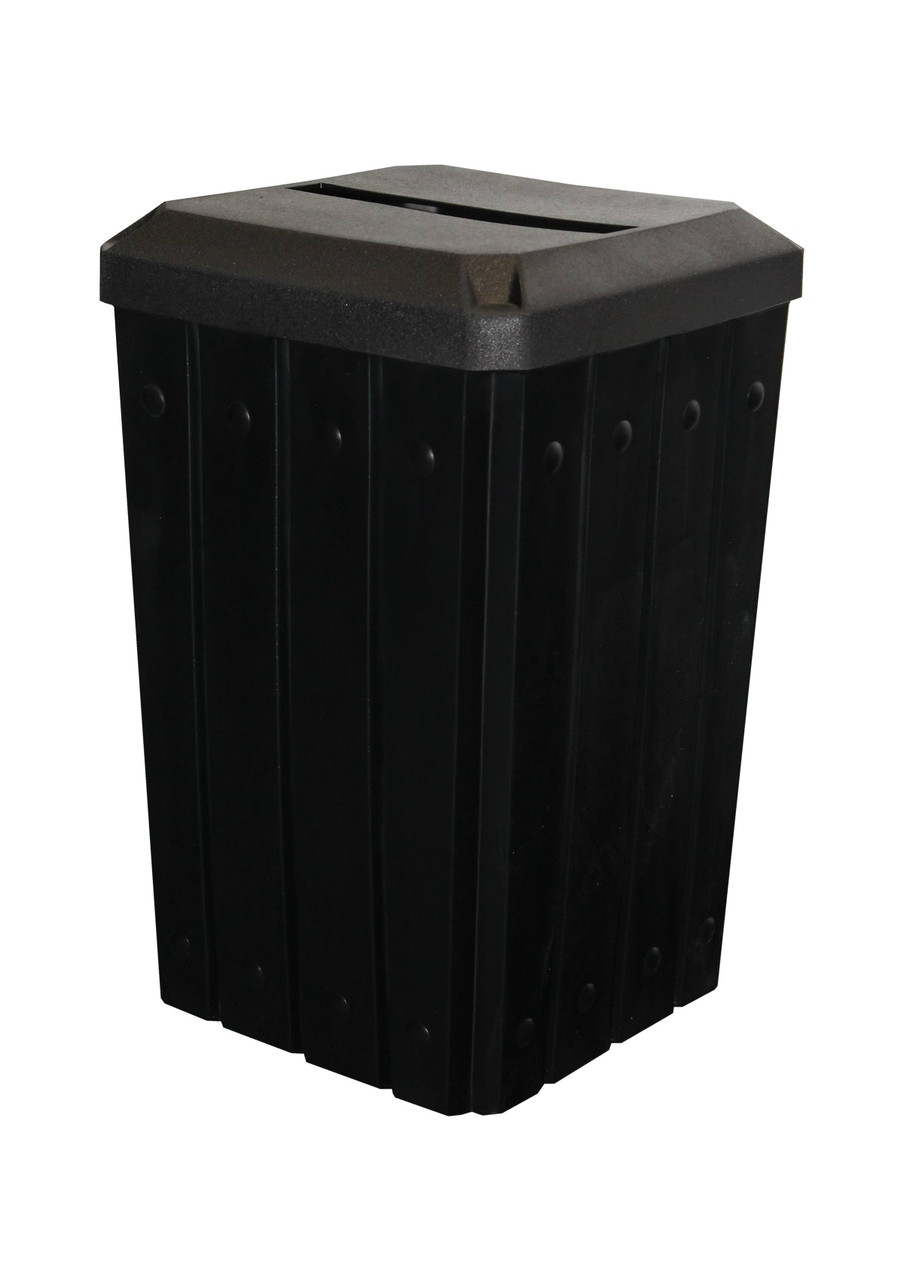 Kolor Can Signature 32 Gallon Heavy Duty Trash Receptacle with Slot Lid BLACK