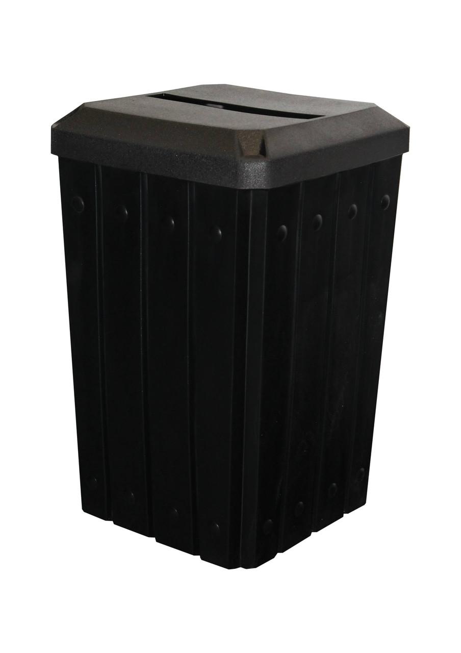 Kolor Can Signature 32 Gallon Heavy Duty Trash Receptacle with Slot Lid BLACK