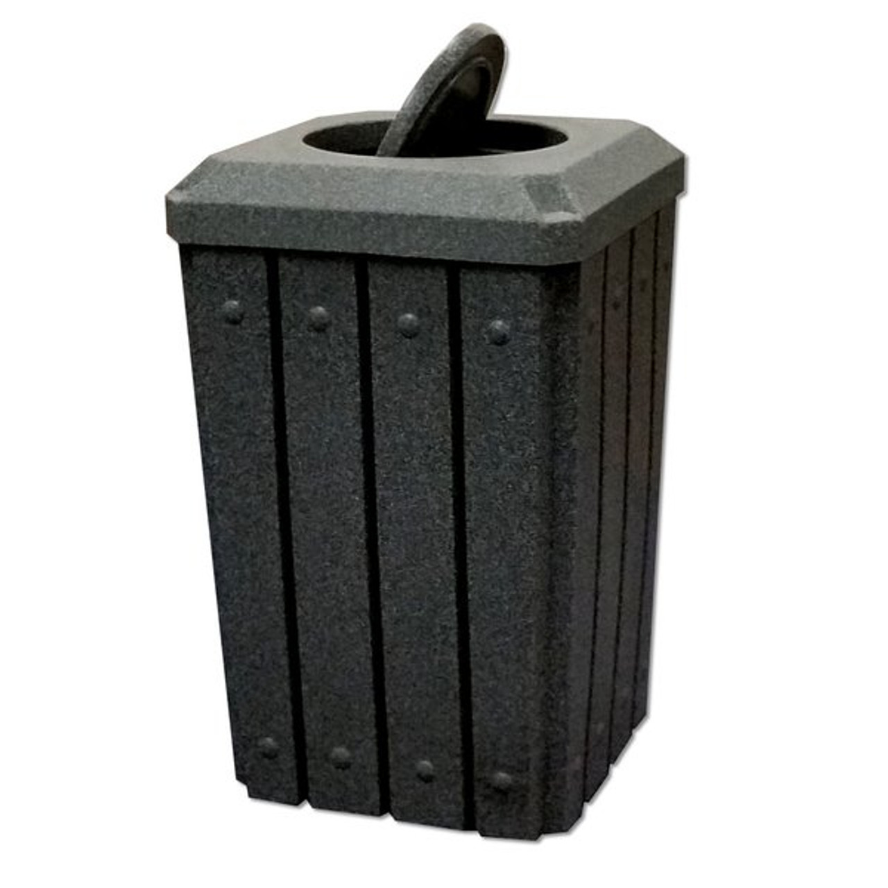 Kolor Can Signature 32 Gallon Heavy Duty Trash Receptacle with Bug Barrier Lid DARK GRANITE