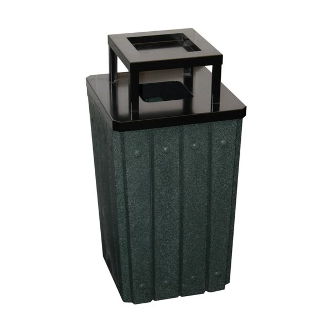 Kolor Can Signature 32 Gallon Heavy Duty Trash Receptacle with Ashtray Lid GREEN GRANITE