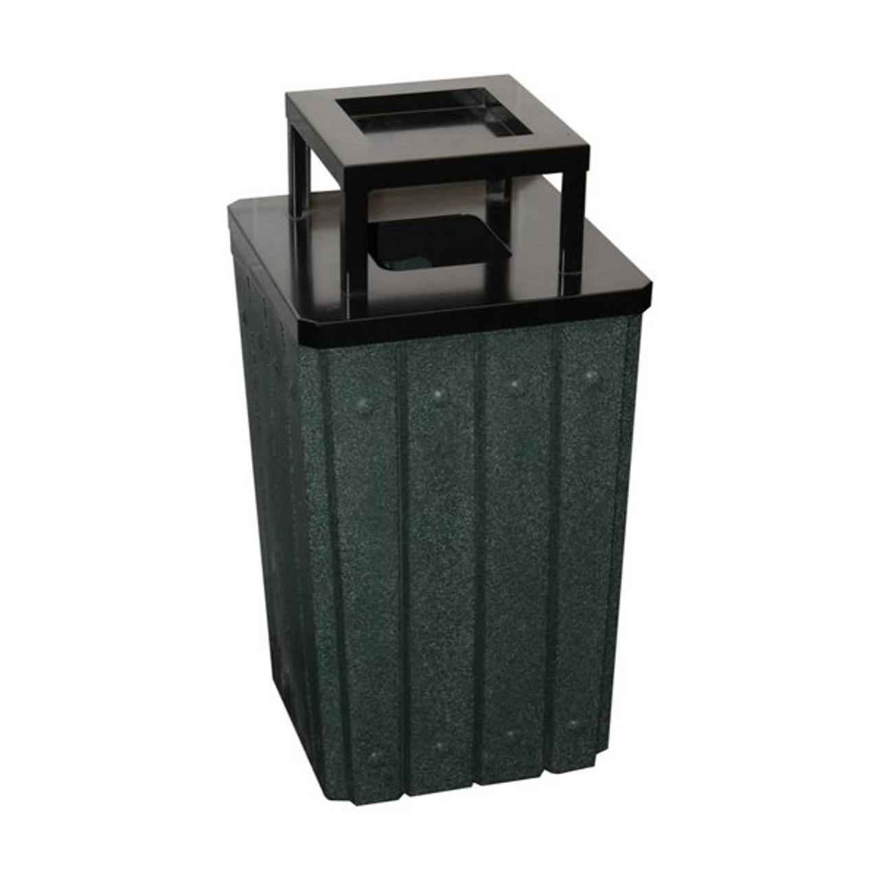 Kolor Can Signature 32 Gallon Heavy Duty Trash Receptacle with Ashtray Lid GREEN GRANITE