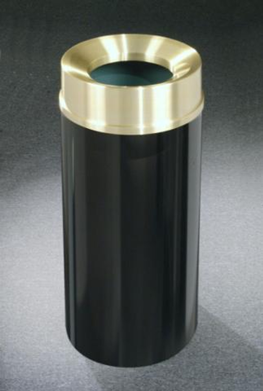 15 Gallon Satin Black with Satin Brass Cover