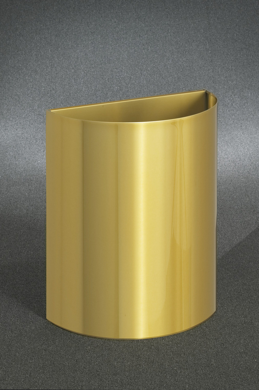 29 Gallon Half Round Open Top Trash Can Satin Brass