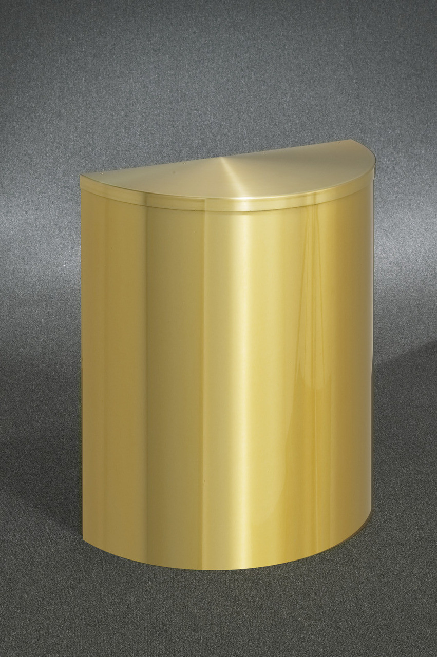 29 Gallon Half Round Trash Can with Hinged Lid Satin Brass