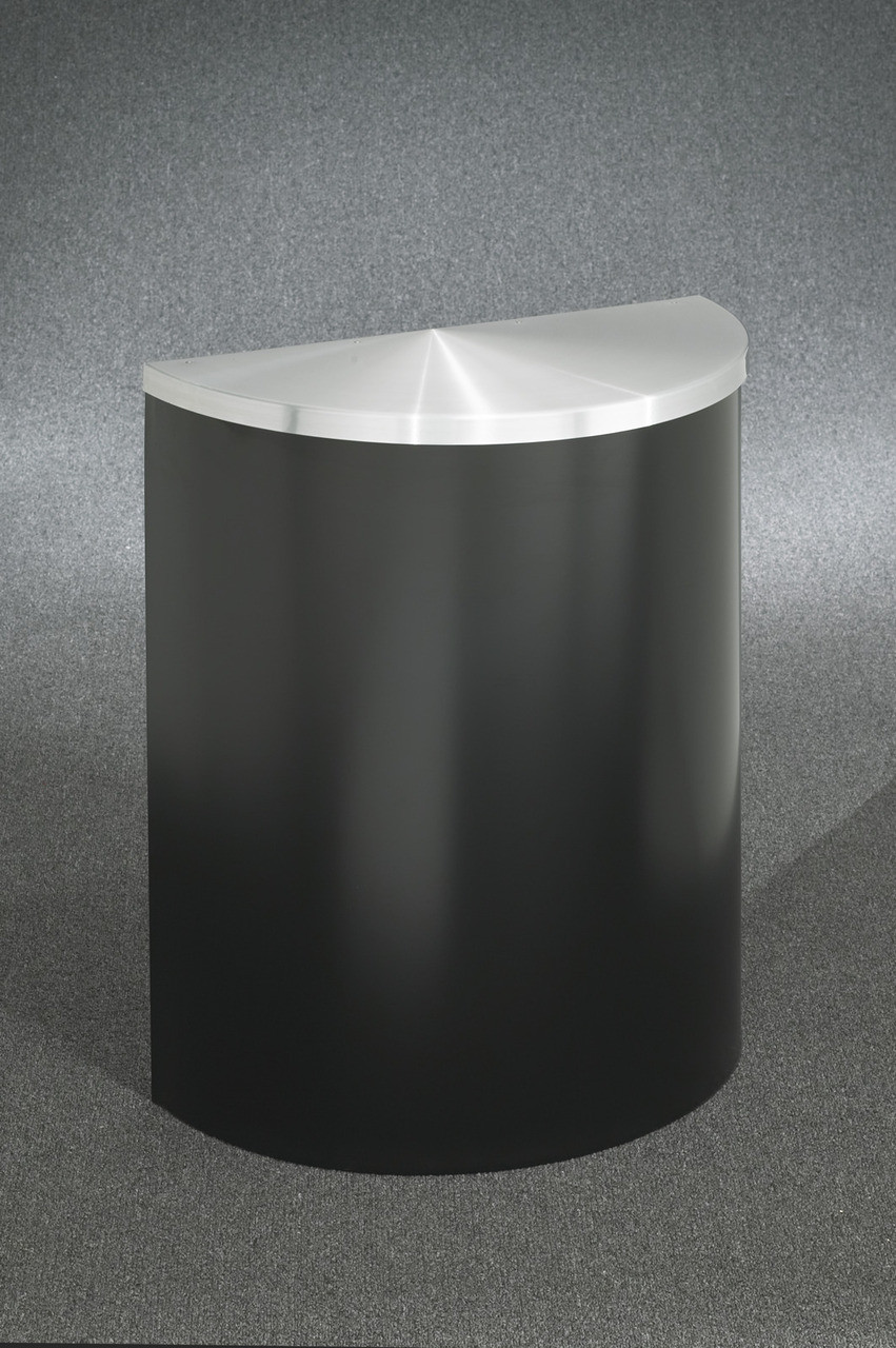 29 Gallon Half Round Trash Can with Hinged Lid Satin Black with Satin Aluminum Cover