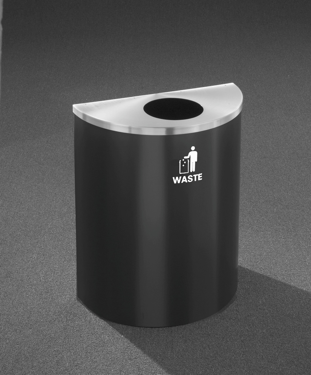 29 Gallon Half Round Trash Can Hinged Lid Satin Black