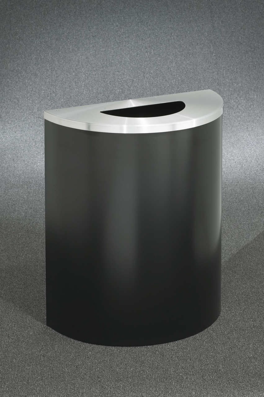 29 Gallon Half Round Trash Can Hinged Lid Satin Black with Satin Aluminum Top