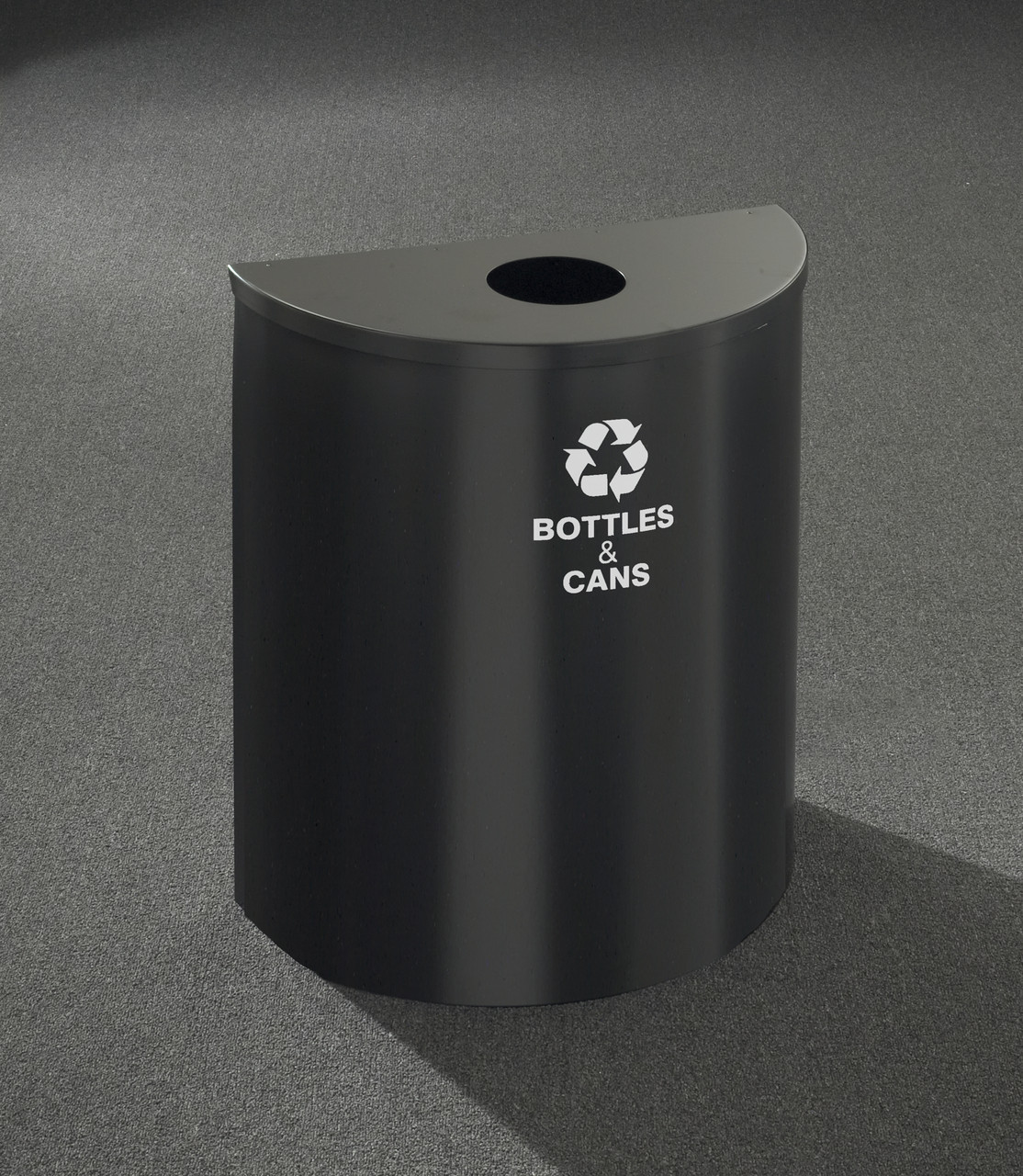 29 Gallon Half Round Recycling Can Hinged Lid Satin Black