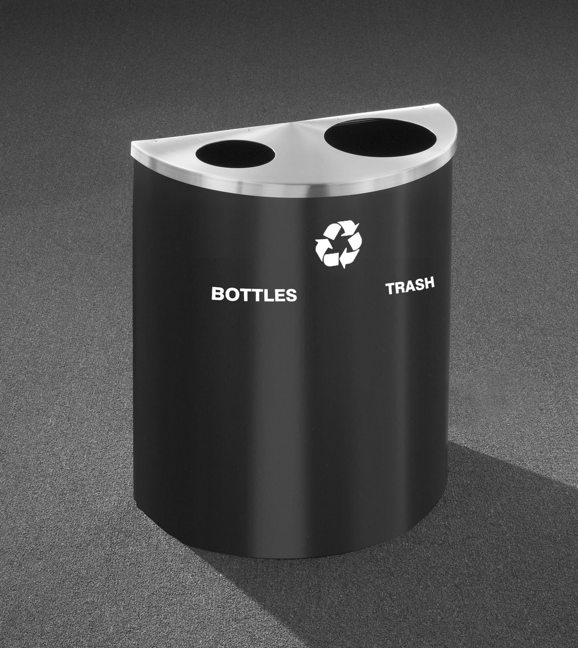 29 Gallon Dual Half Round Recycling Trash Can Hinged Lid Satin Black with Satin Aluminum Cover Bottles & Cans and Waste Openings
