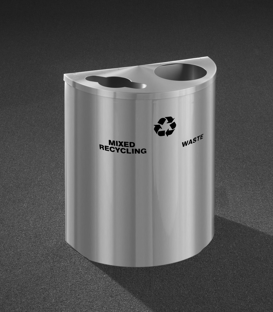 29 Gallon Dual Half Round Recycling Trash Can Hinged Lid Satin Aluminum Mixed and Waste Openings