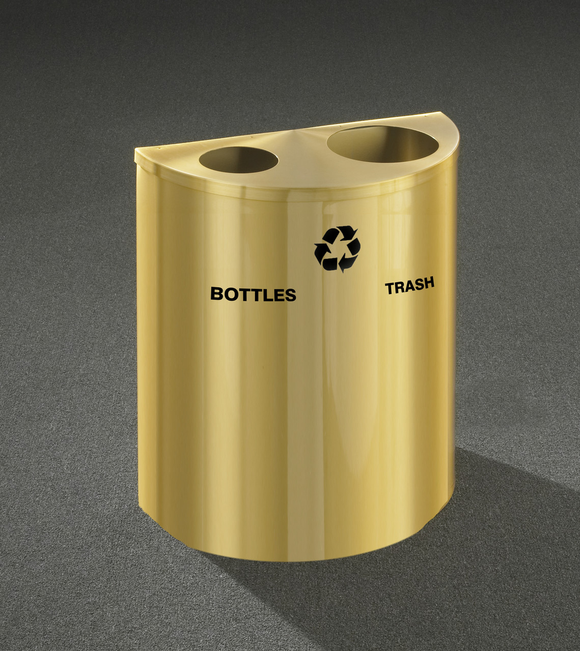 29 Gallon Dual Half Round Recycling Trash Can Hinged Lid Satin Brass Bottles and Waste Openings