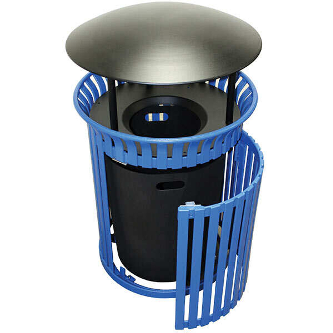 40 Gallon Steel Outdoor Covered Waste Receptacle MF3228 with Side Door
