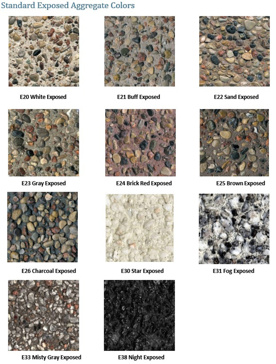 Exposed Aggregate & Weatherstone Colors