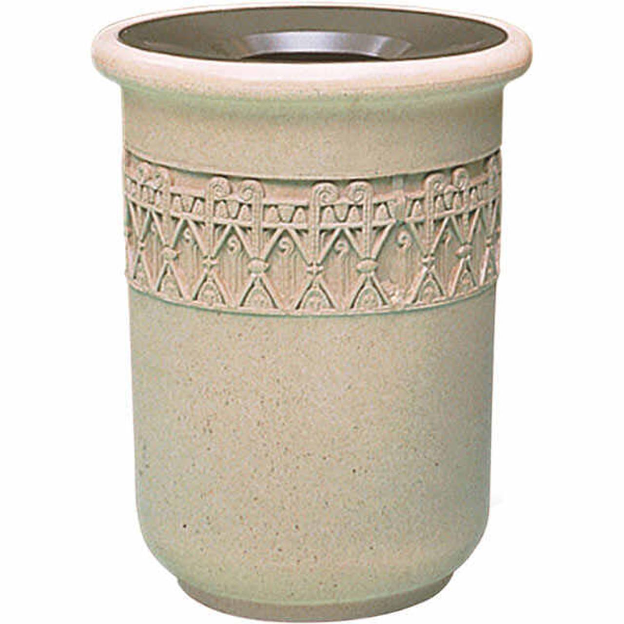26 Gallon Concrete Funnel Top Decorative Waste Container TF1115