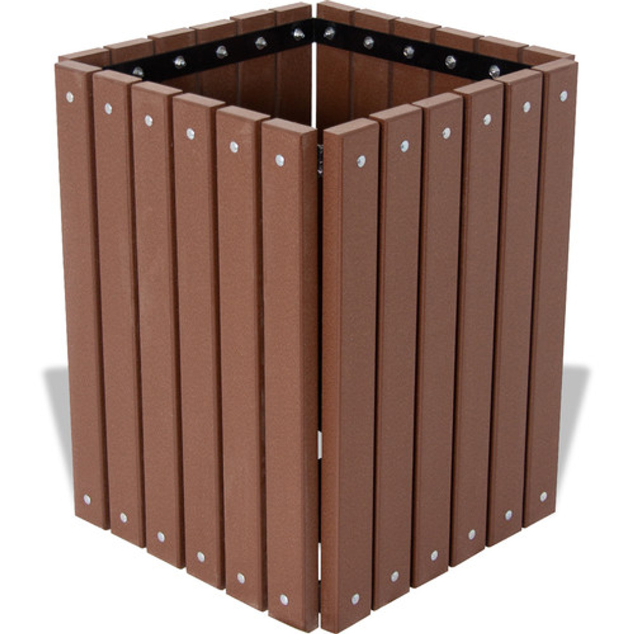 Square Wood or Plastic Trash Can No Lid Recycled Brown