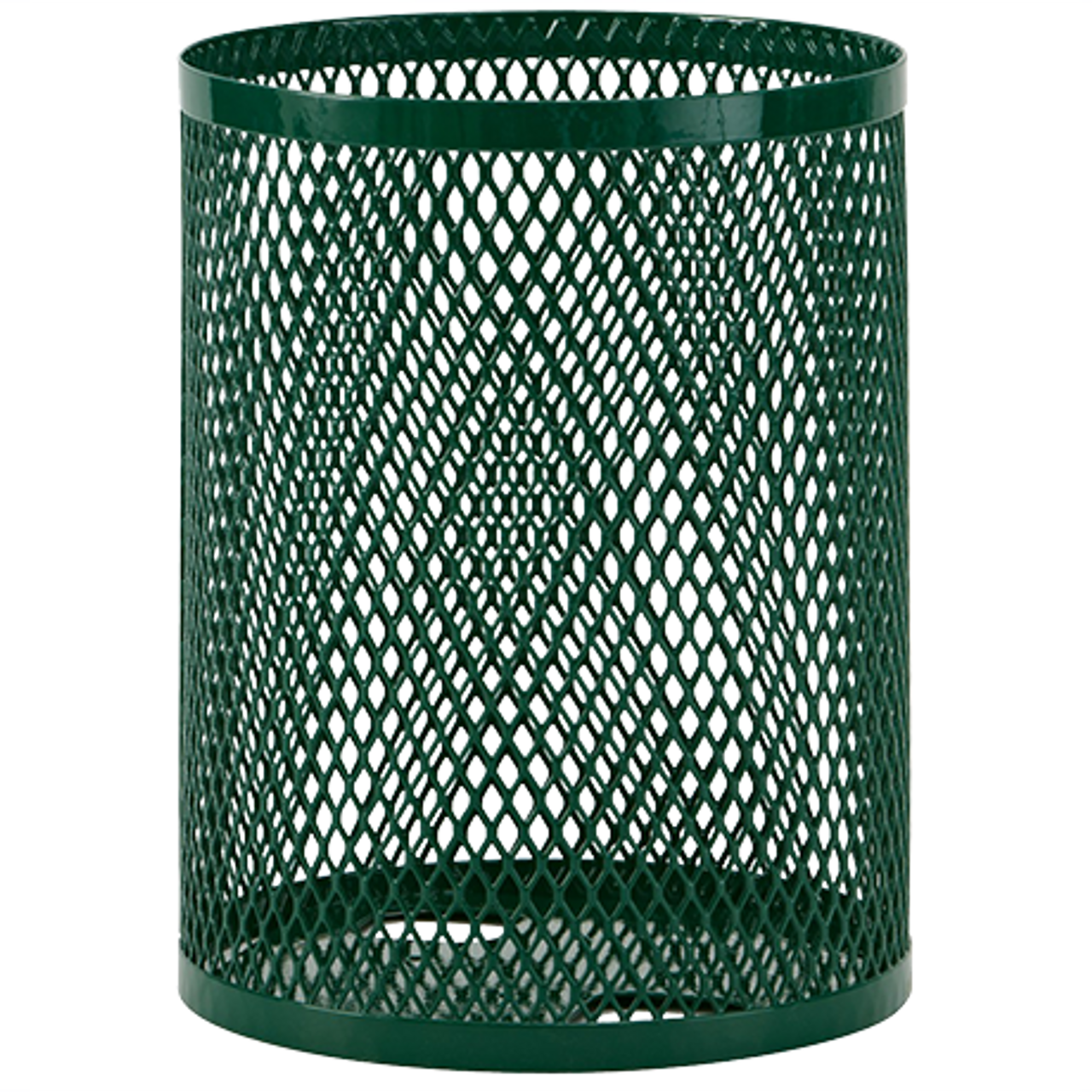 55 Gallon Ultra Site Metal Mesh Street Park Trash Can Green