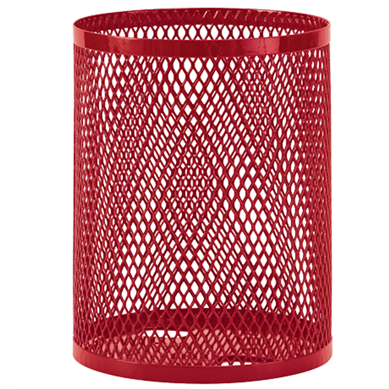 55 Gallon Ultra Site Metal Mesh Street Park Trash Can Red