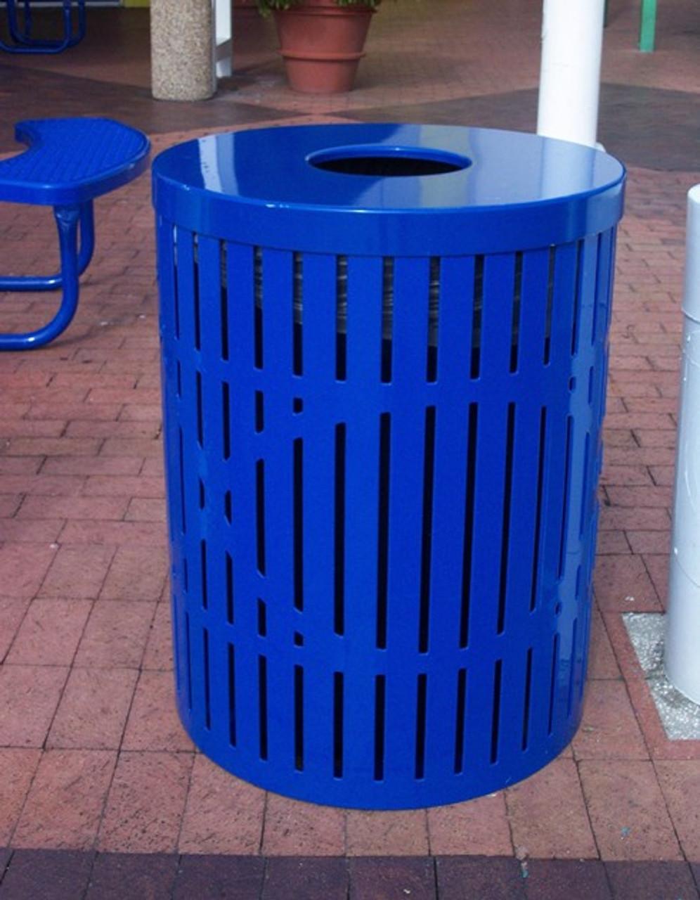 32 Gallon Ultra Site Designer Street Park Metal Trash Can Blue Flat Top