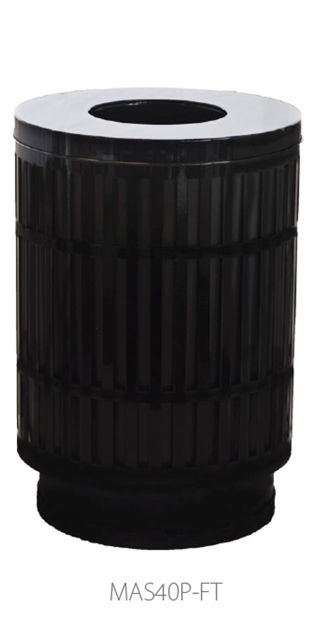 40 Gallon Laser Cut Mason Outdoor Waste Container Flat Top