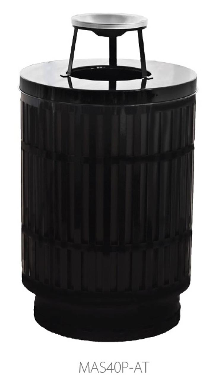 40 Gallon Laser Cut Mason Outdoor Waste Container Ashtray Top