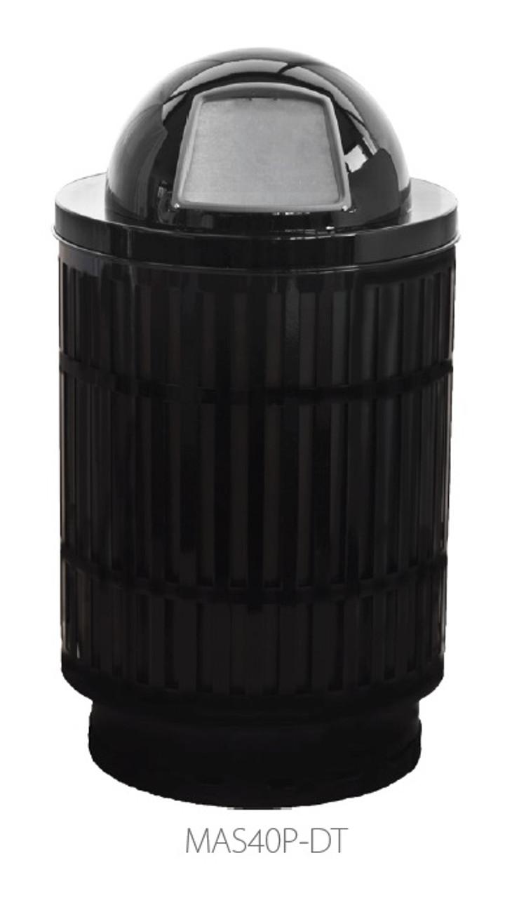 40 Gallon Laser Cut Mason Outdoor Waste Container Dome Top