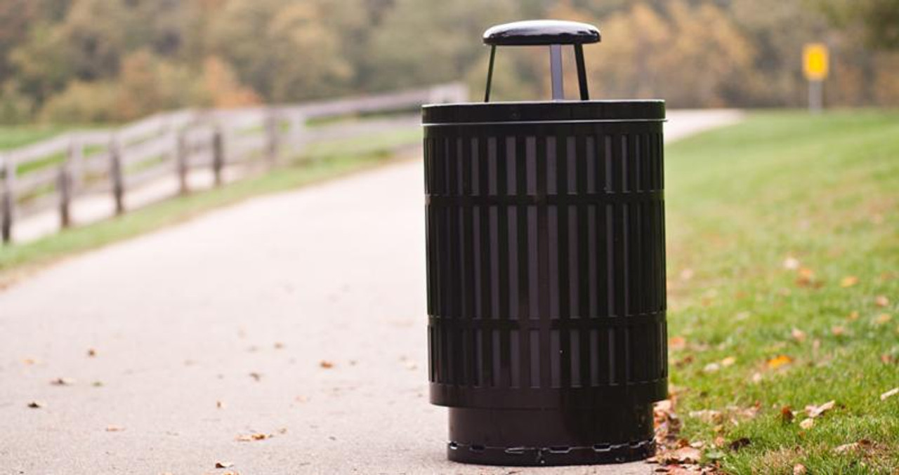 40 Gallon Laser Cut Mason Outdoor Waste Container Street Side