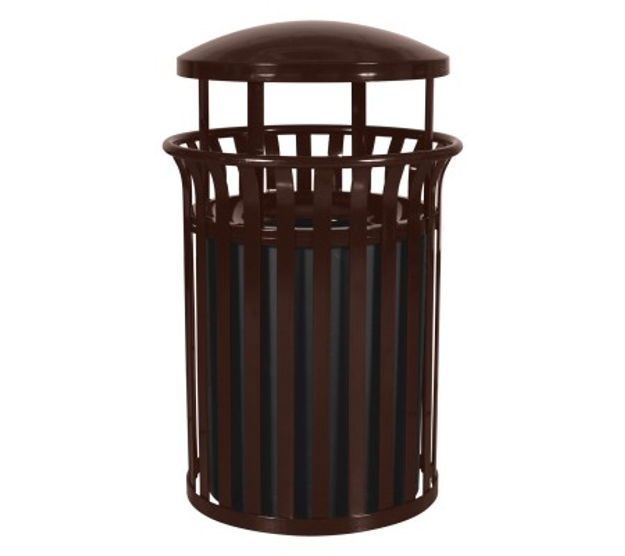 37 Gallon Metal Outdoor Street Scape Trash Can with Rain Cap Brown