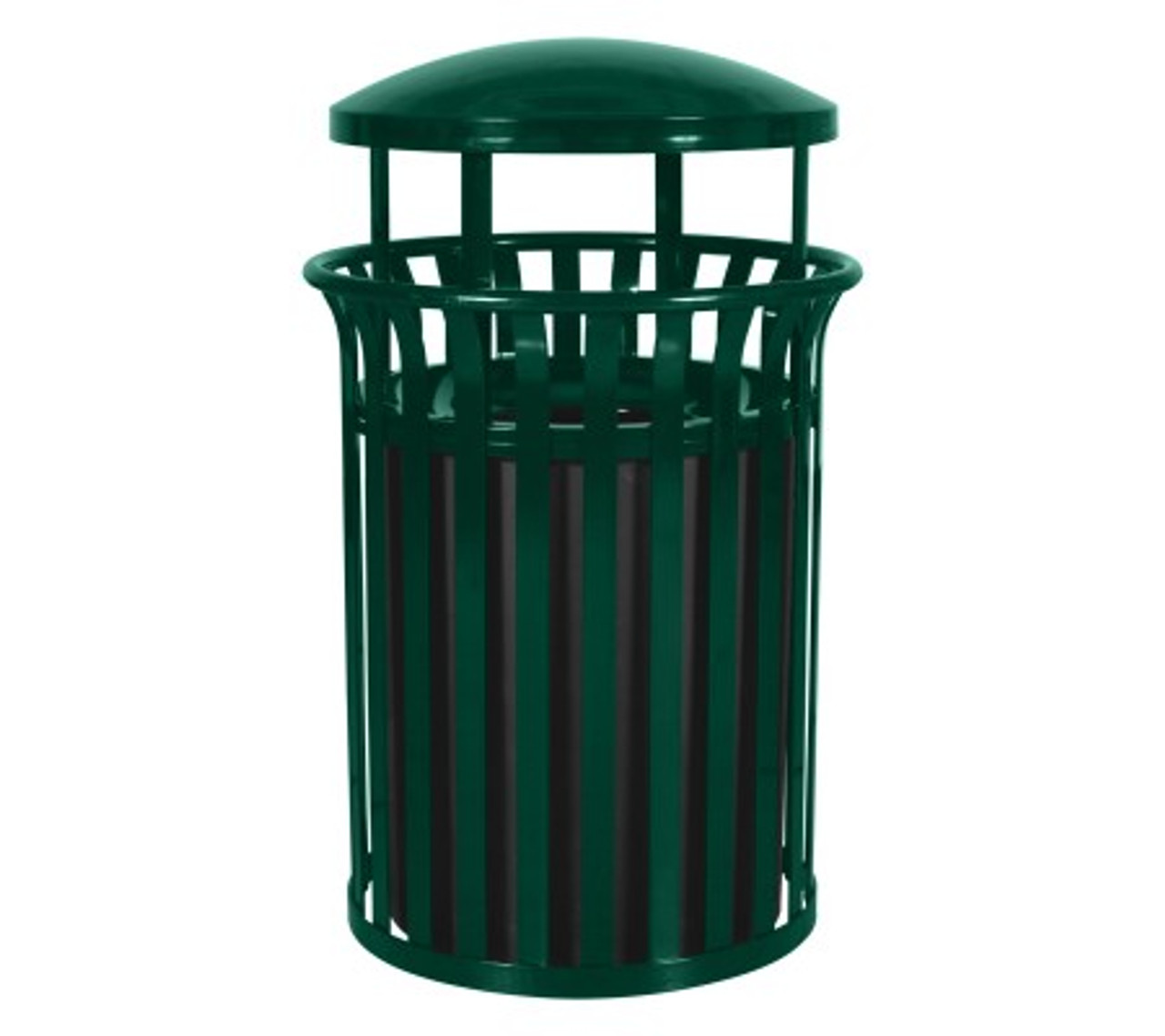 37 Gallon Metal Outdoor Street Scape Trash Can with Rain Cap Green