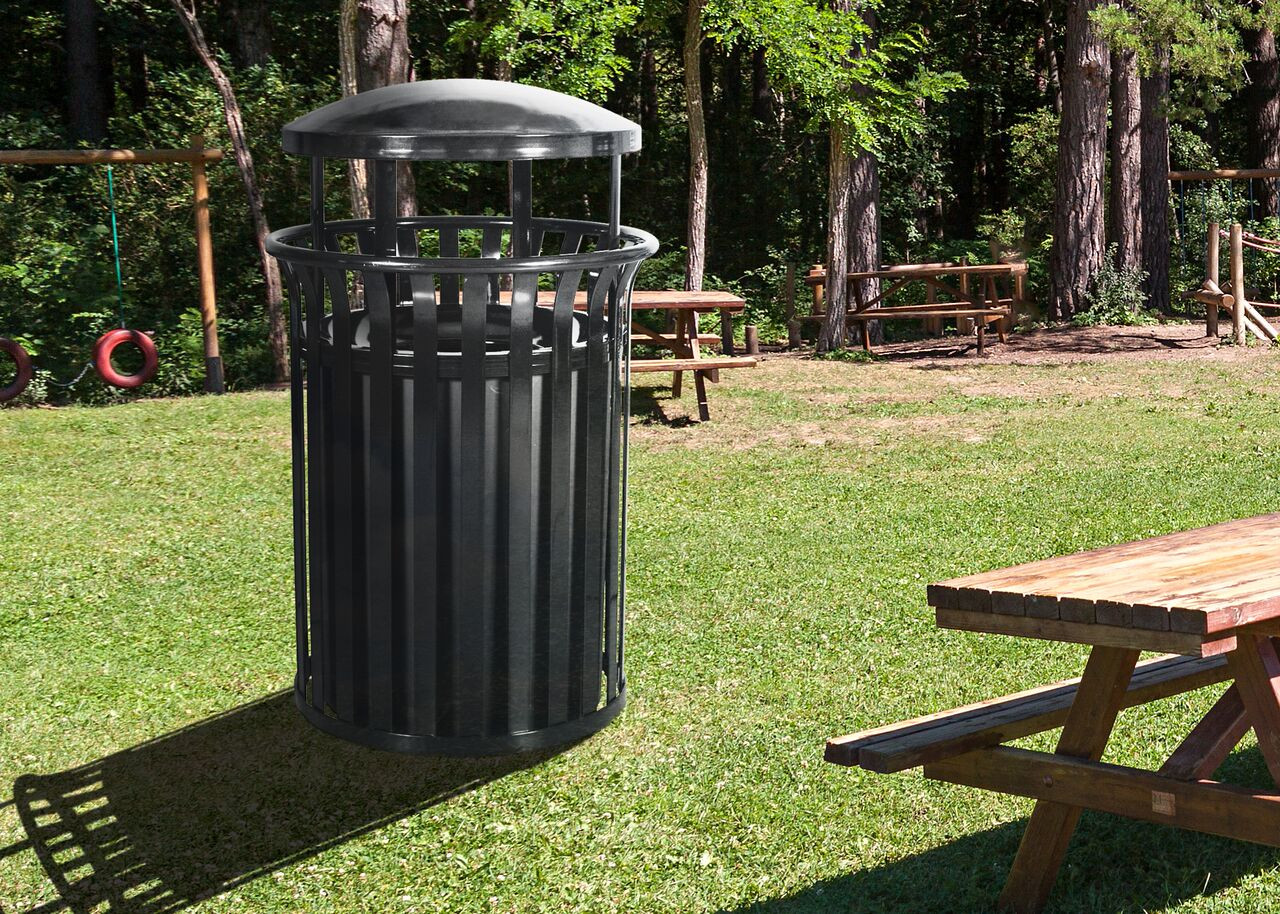 Outdoor Recycling Trash Can with Rain Cap