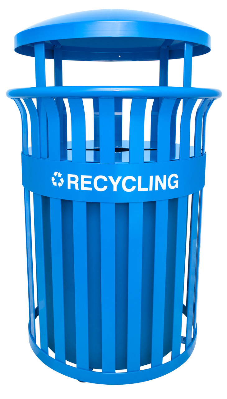 37 Gallon Metal Streetscape Outdoor Covered Recycling Trash Can RC-SCD2633 RBL