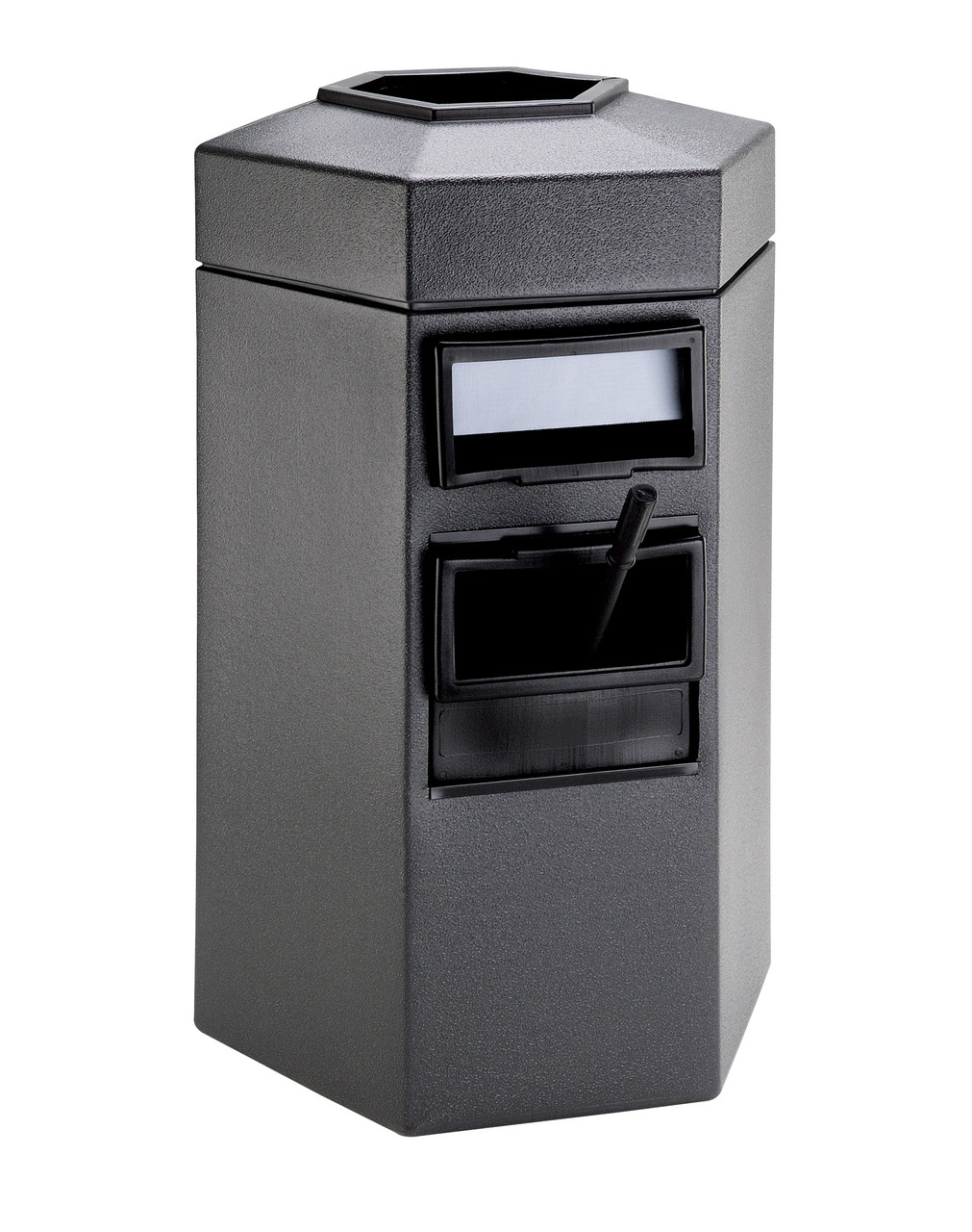 45 Gallon Single Sided Gas Station Outdoor Trash Can Auto Attendant Gray