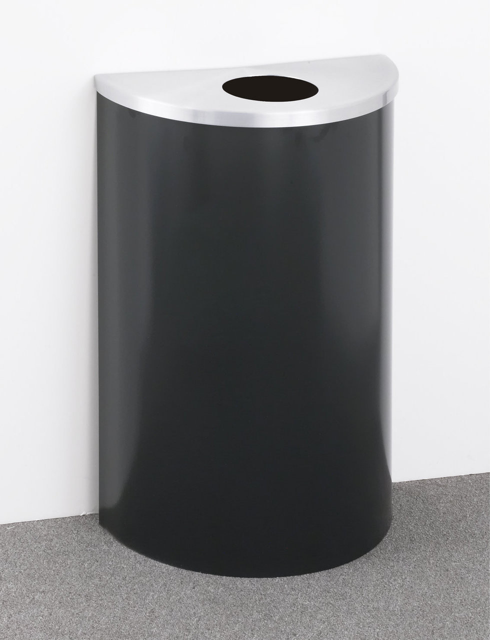 16 Gallon Value Half Round Recycling Can Hinged Lid Satin Aluminum Top