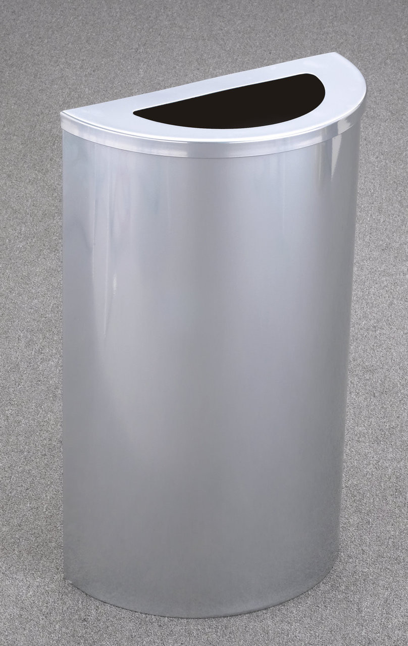 16 Gallon Value Half Round Trash Can Hinged Lid Glass Chrome