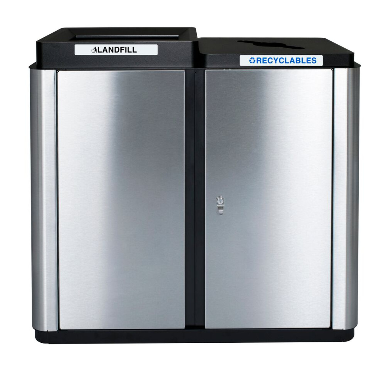 70 Gallon Echelon Collection Indoor Two Stream Recycling Receptacle (1 Waste and 1 Multi Purpose Opening)