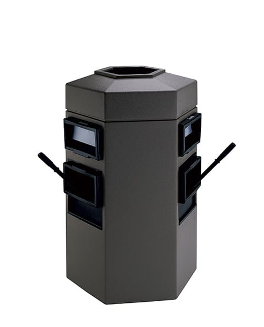 35 Gallon Double Sided Gas Station Outdoor Trash Can Auto Attendant Gray 755424