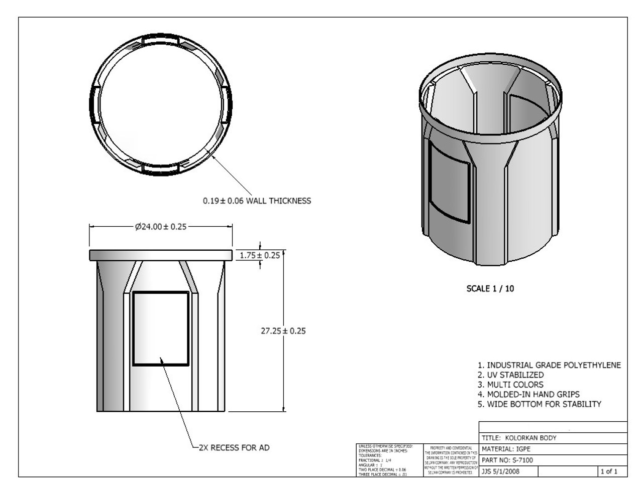 Round Receptacle Spec Sheet