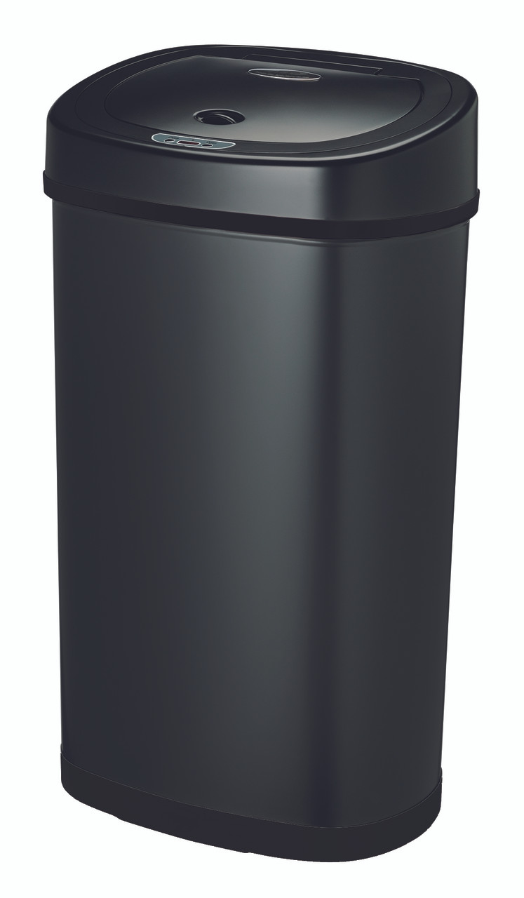 13 Gallon Touchless Automatic Black Kitchen Trash Can DZT-50-9BK Side View