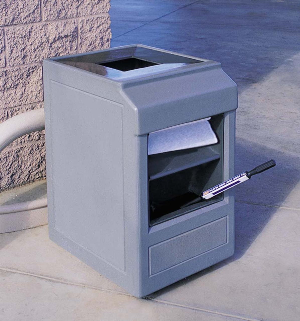 30 Gallon Concrete Auto Attendant Outdoor Waste Container TF1241 Weatherstone Gray
