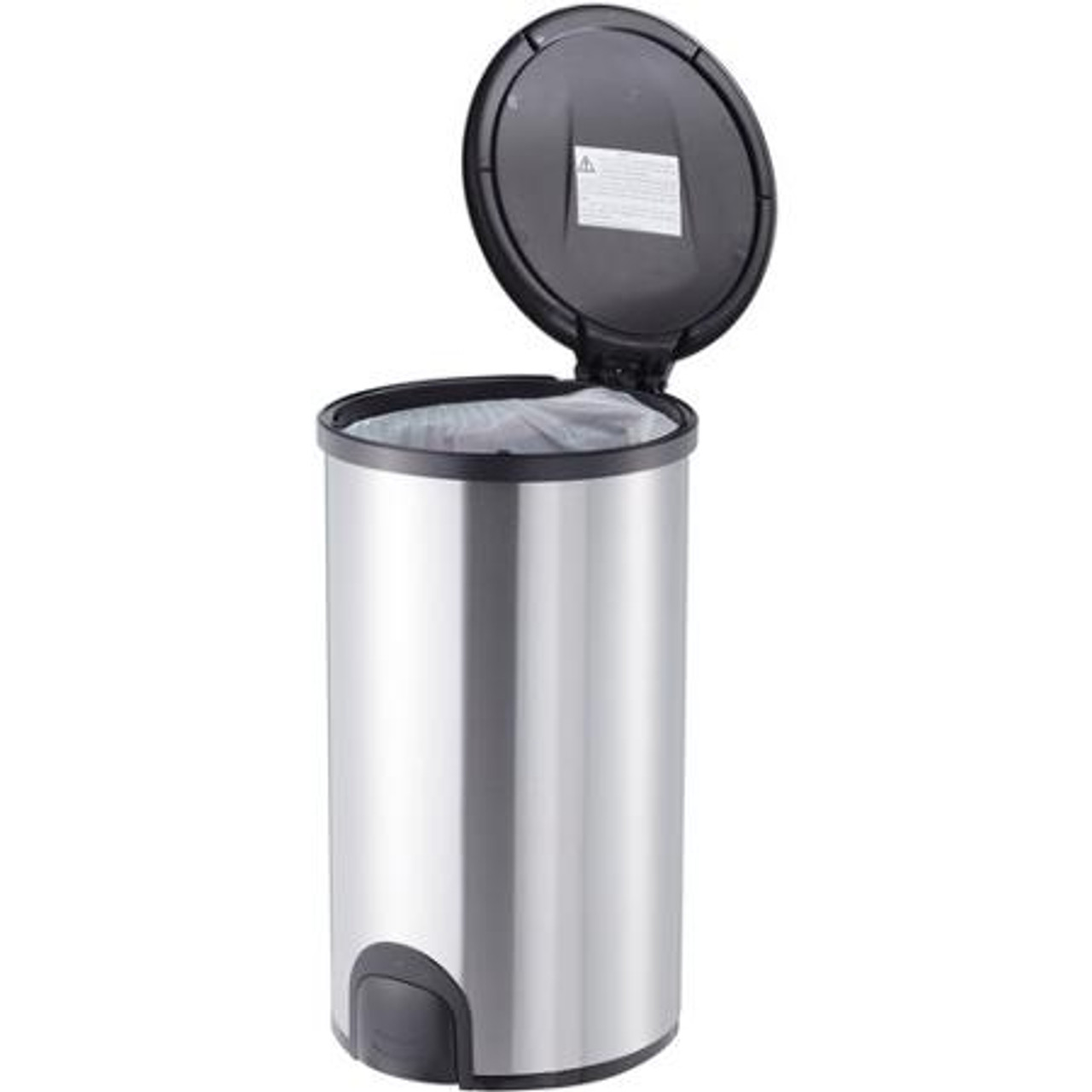 12 Gallon Steel Toe Tap Kitchen Trash Can DZT-45-8 Open