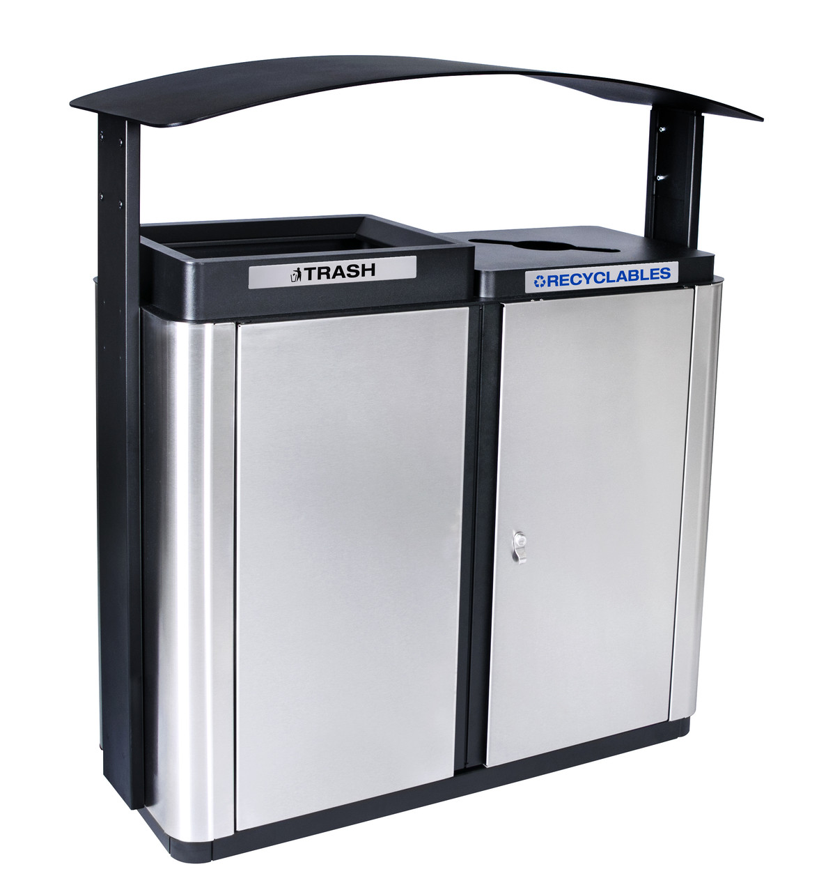 70 Gallon Echelon Outdoor Two Stream Recycling Receptacle ECHX2 (1 Waste, 1 Mixed Opening)