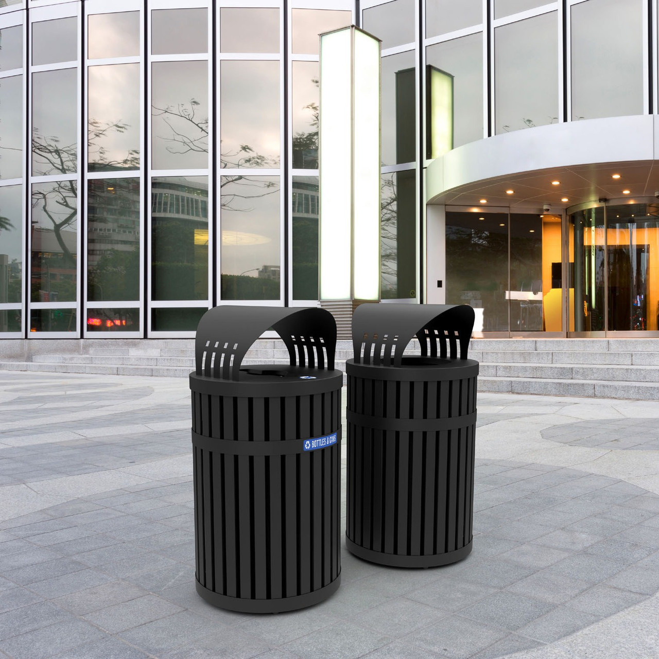 Parkview 3 Covered Trash Can and Recycle Bin