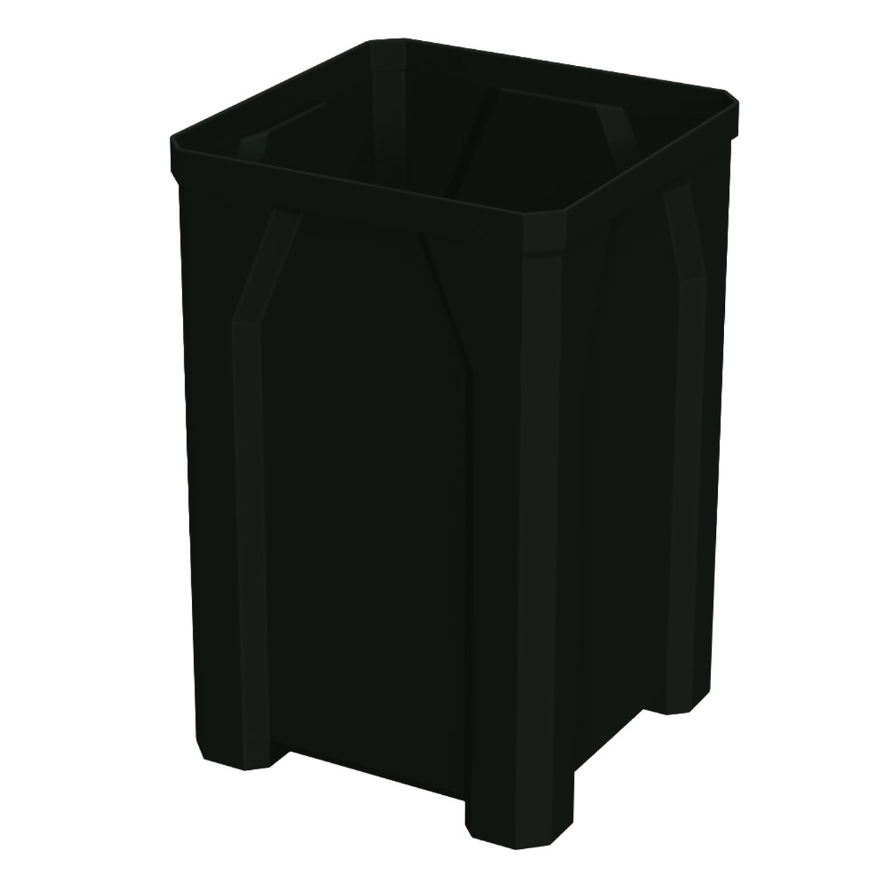 32 Gallon Kolor Can Square Plastic Utility Trash Receptacle S7800-00 BLACK NO LID