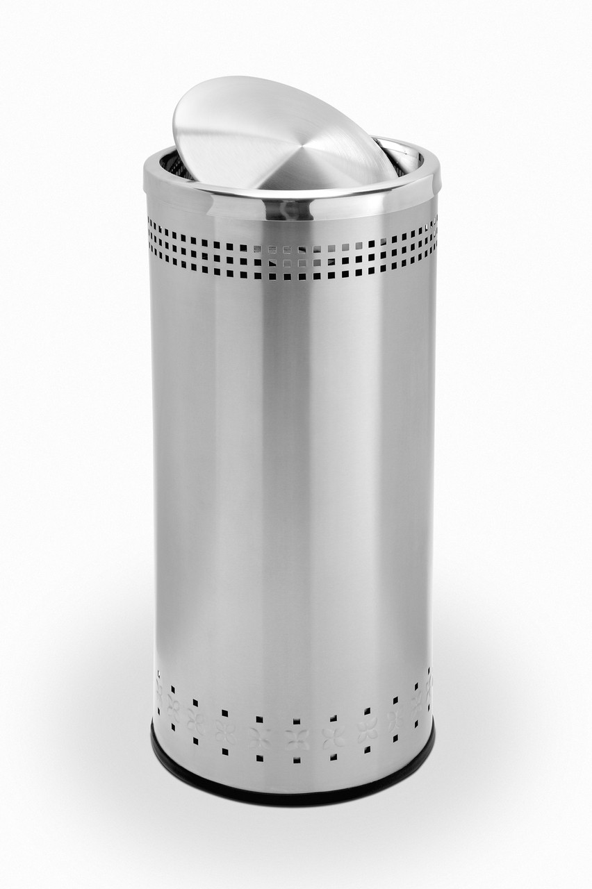 25 Gallon Swivel Door Stainless Steel Trash Can Garbage Can
