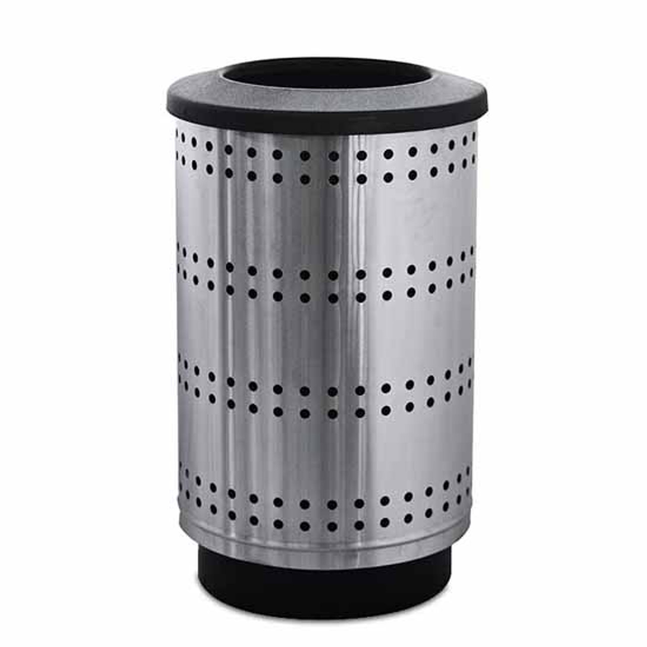 55 Gallon Paramount Perforated Stainless Steel Trash Container PC55P Flat Top